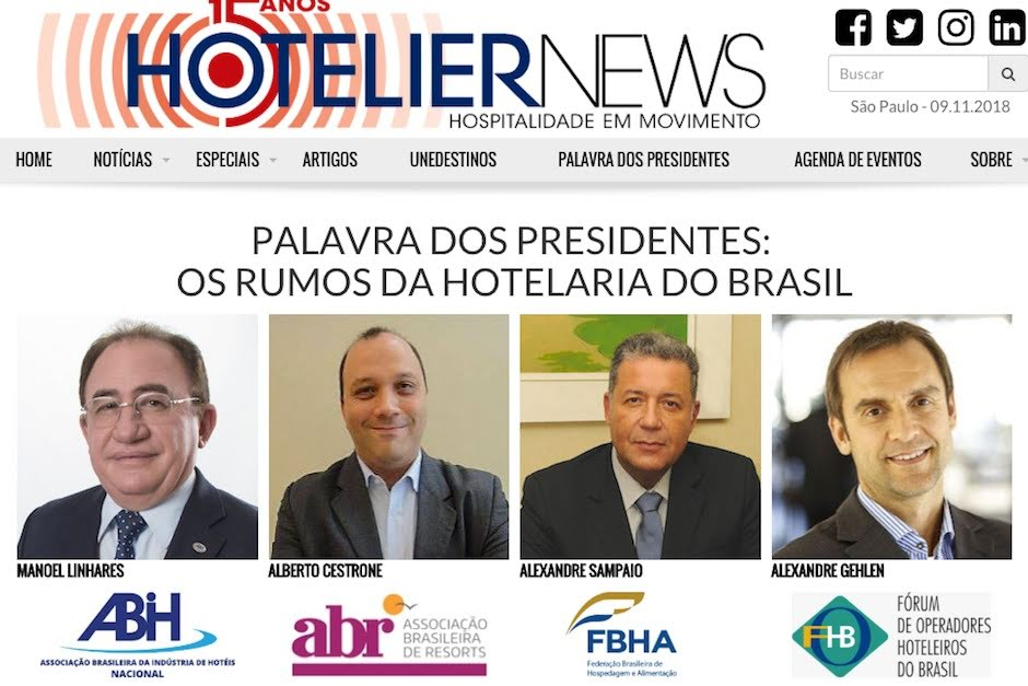 palavra dos presidentes hotelier news