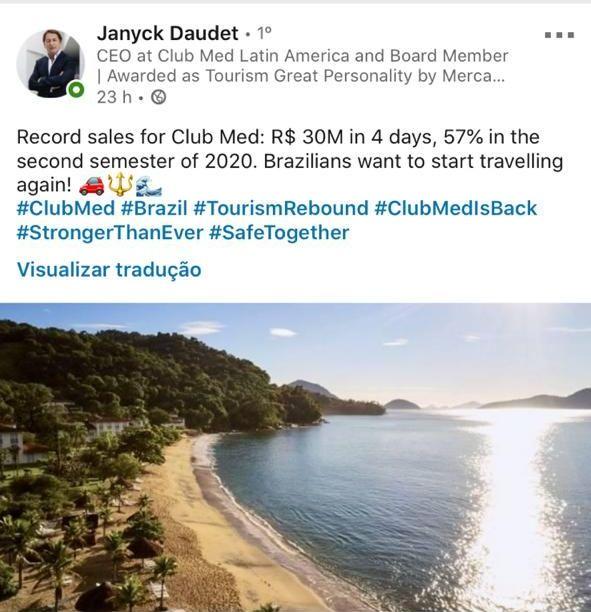 Club Med - campanha reabertura_ post Janyck LinkedIn