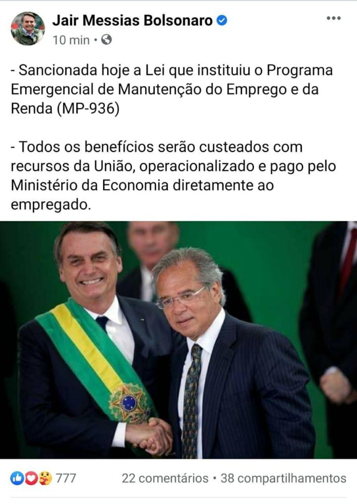 MP 936 - sanção Jair Bolsonaro_rede social